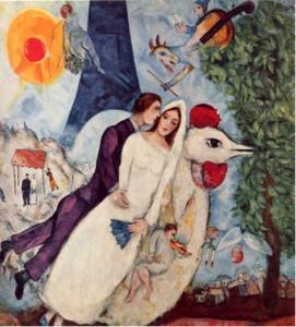 Marc Chagall. Les mariés de la tour Eiffel. 1938.1939. Musée d'art moderne. Centre Pompidou.