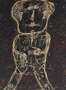 Dubuffet. Portrait d'Henri Michaux. 1947. Mr Plume plis au pantalon. Collection Tate Gallery. London.