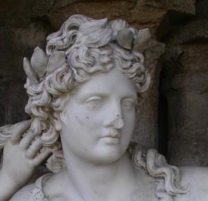 détail de la tête d'Apollon. François Girardon. Versailles. Photo David Rykner.