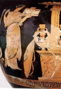 Antigone sur la tombe de son frère. Vase. Musée du Louvre.