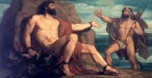 Prométhée et Hercule. Christian Griepenkerl. XIX° siècle.