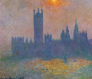 Monet. Londres. Le parlement. Effet de soleil dans le brouillard. 1904