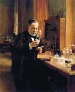 Louis Pasteur dans son laboratoire de la rue d'Ulm. 1822.1895. Mise au point du vaccin contre la rage en 1885.