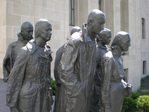 Georges Segal. L'heure de pointe. 1983. Nelson-Atkins museum. Kansas City. Missouri.