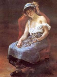 Renoir. La femme au chat.1880. Sterling et Francine Clark art institute Williamstown