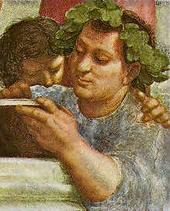 Epicure dans l'école d'Athènes par Raphaël.