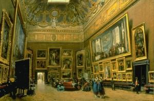Giuseppe Castiglione. Peintre italien.1829.1908. Le salon carré au musée du Louvre en 1865.