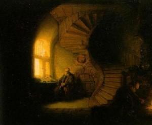 Rembrandt. 1606.1669. Le philosophe en méditation. 1632.