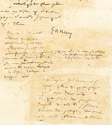 collage de pensées autographes de Pascal.