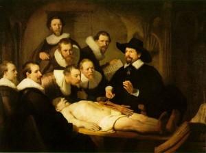 La leçon d'anatomie du docteur N. Tulp. Rembrandt.1632. La Haye. Mauritshuis.