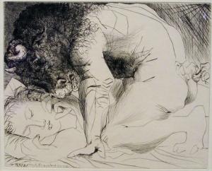 Picasso. Minotaure caressant du mufle la main d'une dormeuse. 1933